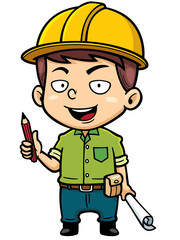 Vector illustration of Cartoon Male Architect holding blueprint