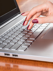 Hand of the woman typing on computer
