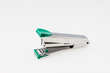 Green Stapler on white background