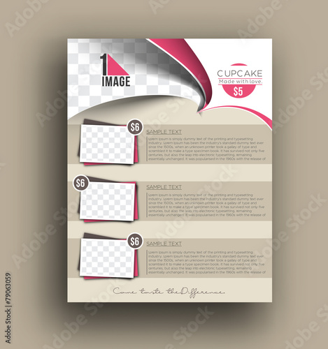 Fototapeta Cup Cake Shop Back Flyer Template