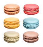 Fototapety Colorful French Macaroons Collection isolated on white