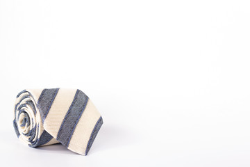 striped tie roll isolated on white background.