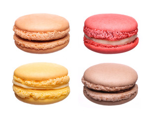 Colorful French Macaroons Collection isolated on white