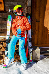 Ski, winter vacation, snow - girl enjoying ski vacations