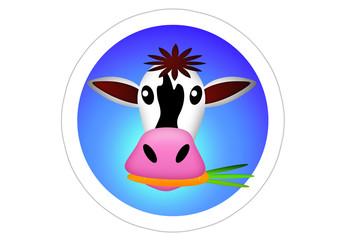 Kuh mit Karotte im Mund / Cow / Sticker