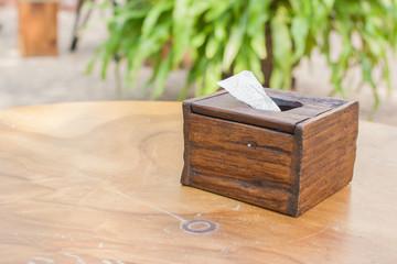 Wooden tissue box.