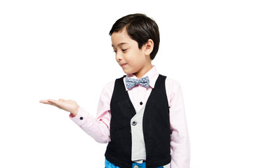 littly boy showing empty hand up on white background