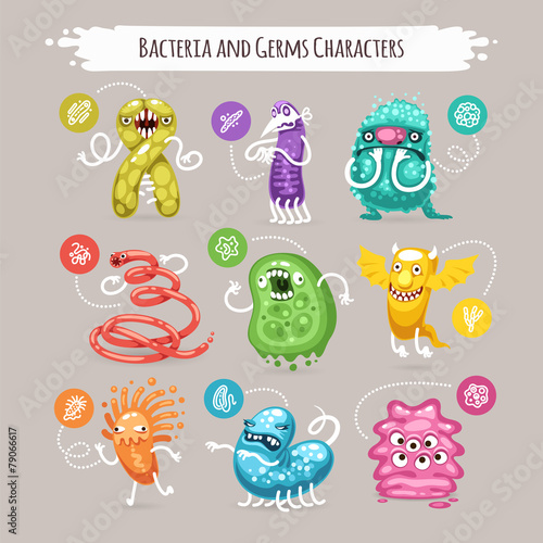 Bacteria and Germs Characters Set - 79066617