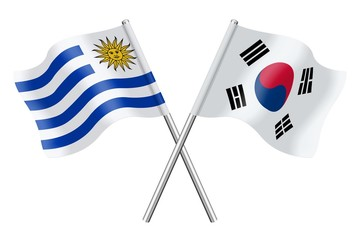 Flags: Uruguay and South Korea