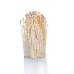 Enoki mushroom, Golden needle mushroom isolated in white backgr