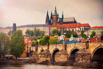 Saint Vitus cathedral and Charles bridge in Prague