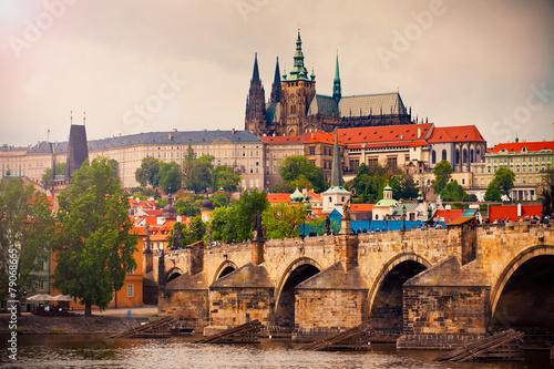 Foto op Canvas Praag Saint Vitus cathedral and Charles bridge in Prague