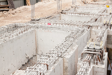 Building foundation at construction site