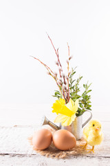 Easter eggs with chicken and daffodil flowers in a watering can