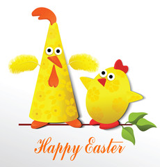 Easter card with funny chickens on twig