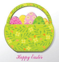 Easter card with Easter basket and eggs