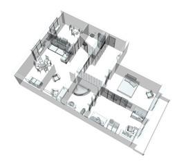 3d sketch of a four-room apartment