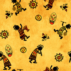 Seamless background with african national patterns