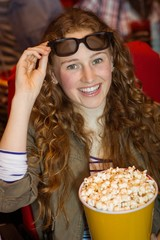 Young woman watching a 3d film