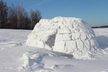 Snow construction of igloo