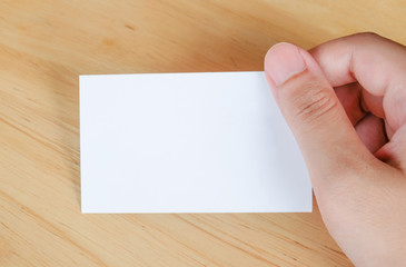 Name card in hand, business background