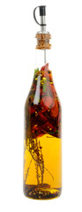 bottle with hot peppers and aromas
