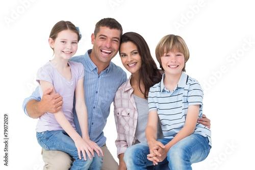 canvas print picture Happy children sitting on parents laps