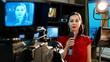 Newscaster presenting news