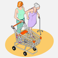Isometric Grocery Shopping - Adult and Senior Women with Shoppin