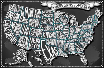 United States of America Vintage Handwriting BlackBoard Vector USA US