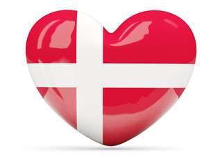Heart shaped icon with flag of denmark