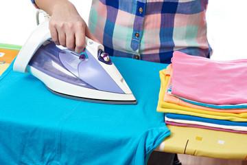 Woman ironed men's t-shirt