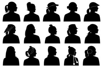 Illustration of women portraits isolated on white