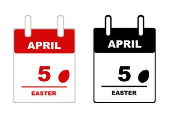 Easter calendar isolated on white