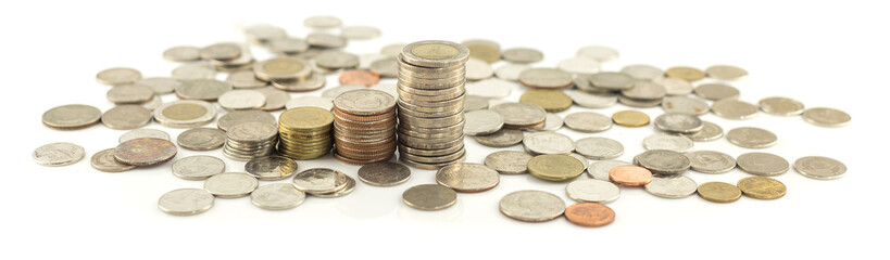 Stack of coin on white