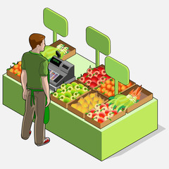 Isometric Greengrocer Shop - Man Owner - Rear View Standing Peop