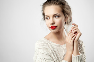 Beauty blonde woman with red lips