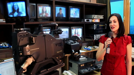 Newscaster in a television studio
