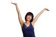 canvas print picture - junge Frau ist glücklich