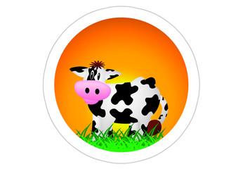 Kuh / Cow / Sticker - Sonnenuntergang