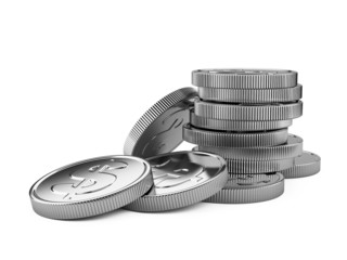 Stack of silver coins isolated on white