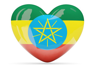 Heart shaped icon with flag of ethiopia
