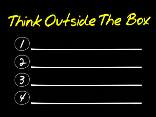 Think Outside The Box blank list, business concept