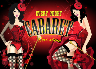 Two Cabaret dancer in a red corset. Retro vector poster