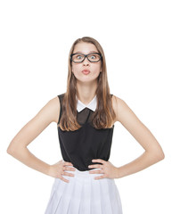 Young beautiful teenager girl in glasses