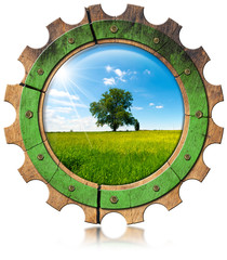 Green Economy - Icon with Gear