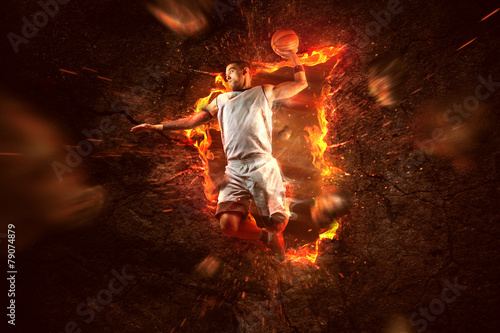 Zdjęcia na płótnie, fototapety, obrazy : Basketball Player on Fire