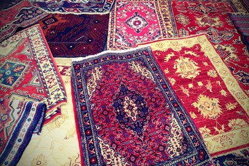 carpets decorated in the market