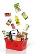 canvas print picture - Full shopping basket with products isolated on white
