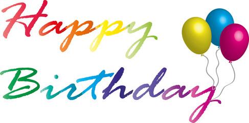 testo Happy birthday colorata con palloncini